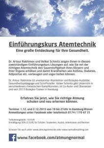 Flyer Atem Kurs Buteyko in Hamburg mit Volker Schmitz und Dr. Artour Rakhimov