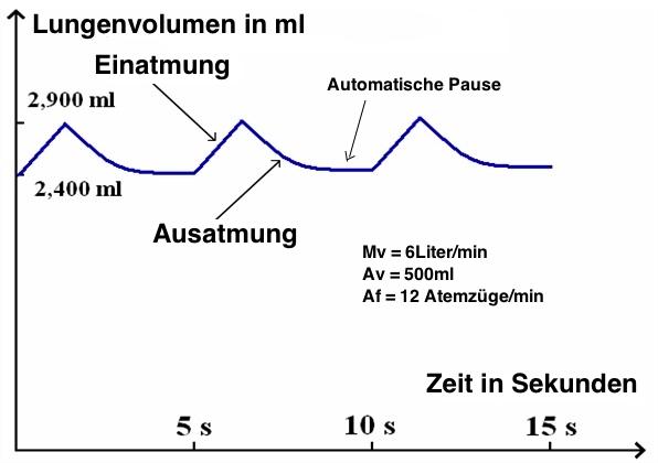 Normale Atmung im Kurven Diagramm